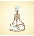 Sketch alcohol burner in vintage style vector image vector image