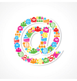 Social media icons make email sign stock vector image