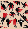 Superhero in action seamless pattern vector image