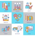 Teamwork Linear Colored Icons vector image