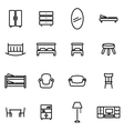 thin line icons - furniture vector image