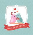 Valentine Happy Valentines card Label Ribbon Birds vector image