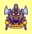 viking skull warrior with banner vector image vector image
