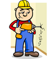 worker with drill cartoon vector image vector image