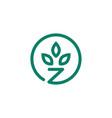 z letter leaf logo icon download vector image vector image