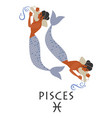 zodiac in style ancient greece pisces two vector image vector image