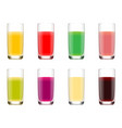 set of glasses with juice from fruits vector image
