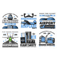 airlines and airport safety flights plane vector image vector image