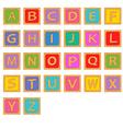 alphabet wooden english blocks vector image vector image