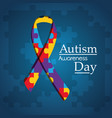 autism awareness day puzzle shape ribbon blue vector image vector image