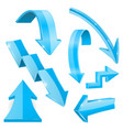 blue 3d arrows shiny icons vector image vector image