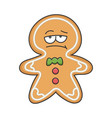 bored christmas ginger bread cookie cartoon vector image vector image