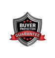 byuer protection guarantee sign silver shield seal vector image vector image