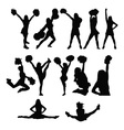 Cheerleader silhouette set vector image vector image