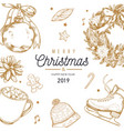 christmas and new year poster banner vector image vector image