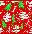 christmas and winter seamless pattern in red and vector image vector image