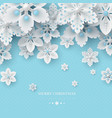 christmas background with 3d decorative snowflakes vector image vector image