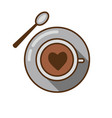 coffee cup with heart and spoon icon vector image