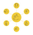 cool thin line concept - hand icons with tools vector image