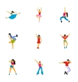 Dance styles icons set flat style vector image