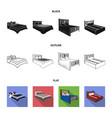 different beds blackflatoutline icons in set vector image