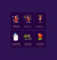 flat set of 6 christmas card templates vector image