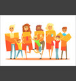 group of smiling people holding the word happy vector image vector image