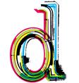Grunge colorful font Letter d vector image vector image