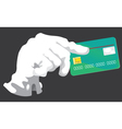 hand with credit card grey vector image vector image