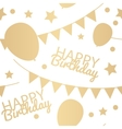 Happy Birthday Background with Balloons Flags and vector image vector image