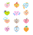 hearts with various faces vector image vector image