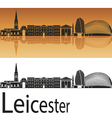 Leicester skyline in orange background vector image vector image