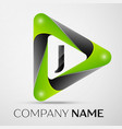 letter j logo symbol in the colorful triangle on vector image vector image