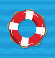 life buoy on blue sea background red vector image vector image