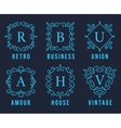 Light Blue Monogram Logos Set vector image vector image