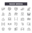 mass media line icons signs set outline vector image vector image