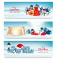 merry christmas banners with magic box and vector image