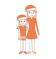mom embracing her daughter wearing christmas hat vector image