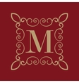Monogram letter M Calligraphic ornament Gold vector image vector image