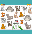 one a kind game for kids with comic cats vector image vector image