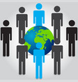 people are standing front and rear of world map vector image