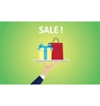 sale concept with people hand holding a plate with vector image vector image