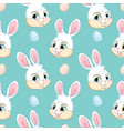 seamless pattern with heads white rabbits vector image vector image