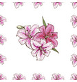 seamless pattern with pink lilies flower on white vector image vector image
