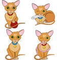 set of cute ginger cats cartoon character vector image vector image