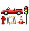 set of traffic element vector image vector image
