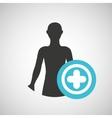 silhouette man health icon cross vector image