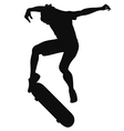 Silhouette of a young man skateboarding vector image vector image