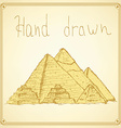 Sketch Egypt pyramids in vintage style vector image vector image