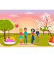 two loving couples on sunset in park background vector image vector image
